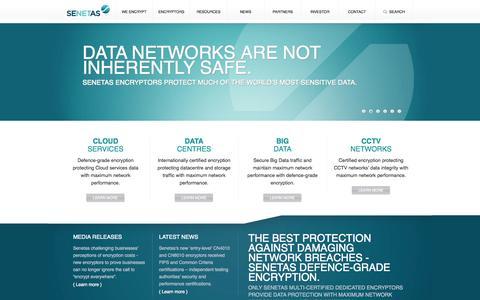 Screenshot of Home Page senetas.com - Senetas - captured Sept. 30, 2014