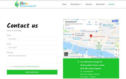 Screenshot of Contact Page lionhellas.com - Contact – LION - captured Sept. 29, 2018