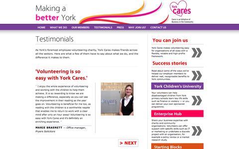 Screenshot of Testimonials Page yorkcares.co.uk - York Cares >> Testimonials - captured Sept. 30, 2014