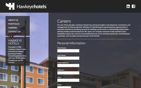 Screenshot of Jobs Page hawkeyehotels.com - Careers | Hawkeye Hotels Iowa Hotel Management Company - captured July 17, 2018
