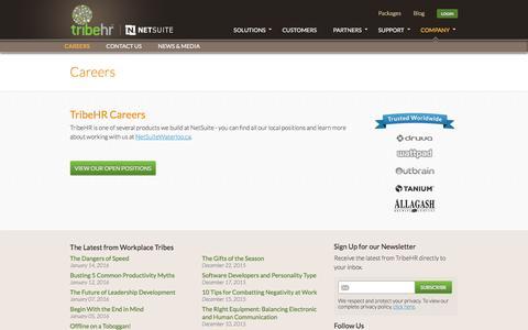 Screenshot of Jobs Page tribehr.com - TribeHR Careers - captured Jan. 17, 2016
