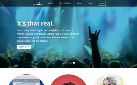 Screenshot of Home Page dysonics.com - Dysonics - captured Jan. 3, 2016
