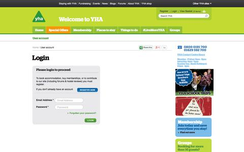 Screenshot of Login Page yha.org.uk - User account | YHA - captured Sept. 25, 2014