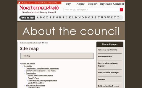 Screenshot of Site Map Page northumberland.gov.uk - Site map - captured Sept. 19, 2014
