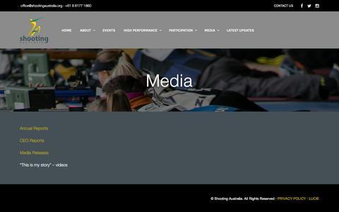 Screenshot of Press Page shootingaustralia.org - Media - Shooting Australia - captured July 27, 2018