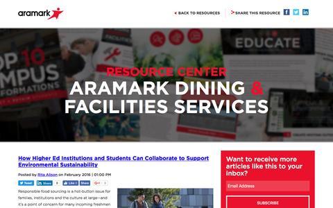 Screenshot of Blog aramark.com captured Oct. 25, 2016