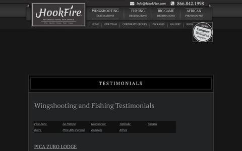 Screenshot of Testimonials Page hookfire.com - Hookfire > Testimonials - captured Nov. 12, 2016