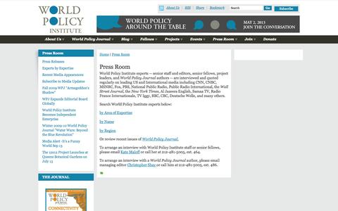 Screenshot of Press Page worldpolicy.org - Press Room | World Policy Institute - captured Oct. 26, 2014