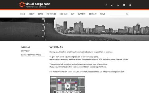 Screenshot of Support Page visualcargocare.com - SUPPORT - Visual Cargo Care - captured Jan. 11, 2016