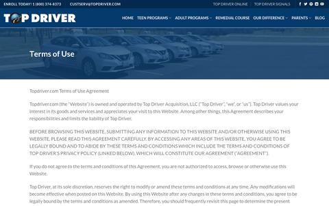 Terms of Use - Top Driver Driving School