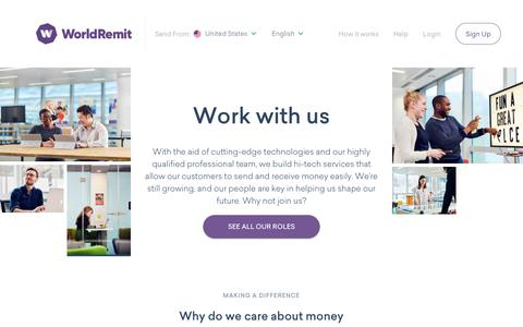 Screenshot of Jobs Page worldremit.com - Careers Page | WorldRemit - captured Feb. 3, 2020