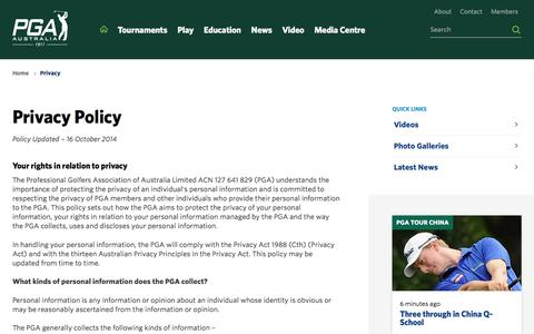 Screenshot of Privacy Page pga.org.au - Privacy Policy - PGA - captured Jan. 24, 2016