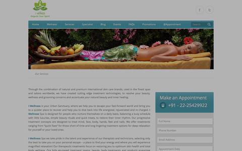 Screenshot of Services Page i-wellness.in - Services - i - Wellness Clinic for Slimming, Inch Loss, Weight loss, Spa & Salon Thane - Mumbai | i deserve it | A Medical Venture - captured Sept. 30, 2014