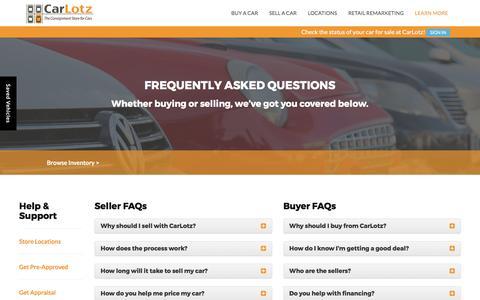 Screenshot of FAQ Page carlotz.com - FAQ's | CarLotz - captured March 19, 2017