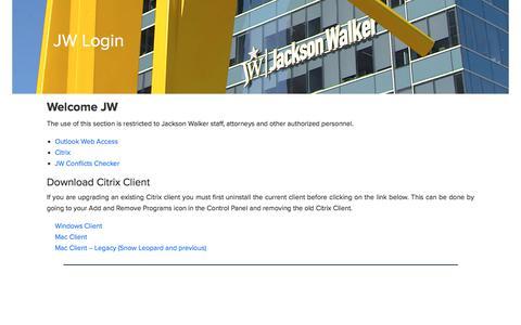 Screenshot of Login Page jw.com - JW Login – Jackson Walker | Meet JW - captured Sept. 25, 2018