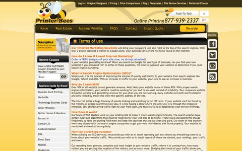 Screenshot of Terms Page printerbees.com - PrinterBees Internet Marketing Solutions, Search Engine Optimization, SEO, Pay Per Click Management, Google PPC - captured Sept. 23, 2014