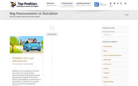Screenshot of Blog posicionamientoenbuscadoreswebseo.es - Blog - SEO - Posicionamiento en buscadores - captured Oct. 2, 2015