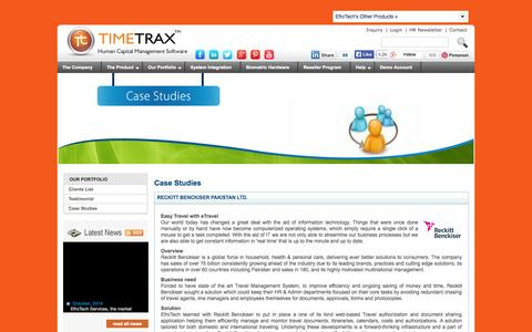 Screenshot of Case Studies Page timetrax.com.pk - TimeTrax - Case Studies - how we have helped clients with our Human Resource Management solutions - captured Nov. 4, 2014