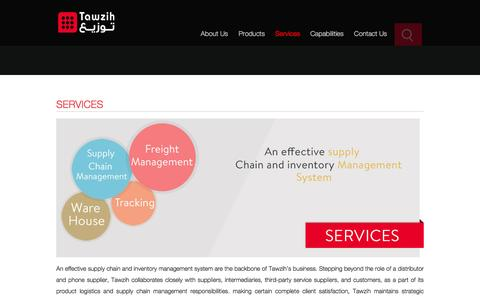 Screenshot of Services Page tawzih.com - Mobile logistic services and Supply chain solutions in Saudi Arabia - captured Feb. 13, 2016