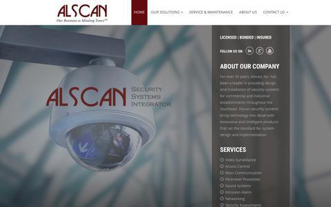 Screenshot of Home Page alscaninc.com - Business Security System Provider - Birmingham, Atlanta, Southeast - Alscan, Inc. - captured Dec. 24, 2015