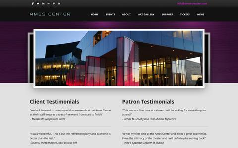 Screenshot of Testimonials Page ames-center.com - Testimonials - The Official Website of the Ames Center - captured Oct. 5, 2014