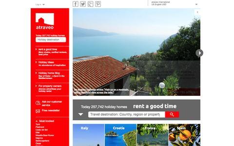 Screenshot of Home Page atraveo.com - Book holiday apartments & holiday houses online with atraveo - captured Sept. 24, 2014