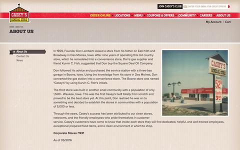 Screenshot of About Page caseys.com - About Us | Casey's General Store - captured Aug. 5, 2016