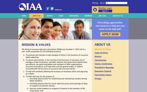 Screenshot of About Page oiaa.com - Mission & Values | About Us | OIAA - captured April 17, 2016