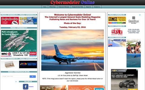 Screenshot of Home Page cybermodeler.com - Cybermodeler Online - Hobby News, Right Now - captured Feb. 2, 2016