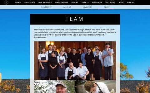 Screenshot of Team Page thepialligoestate.com.au - Team - Pialligo Estate - captured Jan. 28, 2016