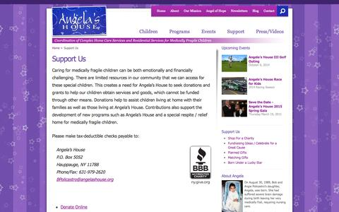 Screenshot of Support Page angelashouse.org - Support Us - Angela's House - captured Sept. 30, 2014