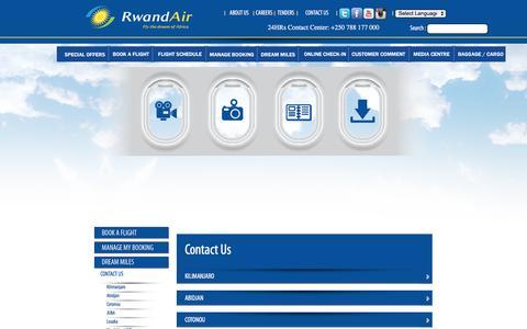 Screenshot of Contact Page rwandair.com - RwandAir - Fly the Dream of Africa. - captured Dec. 1, 2016