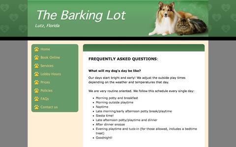 Screenshot of FAQ Page thebarkinglot.co - FAQ of Boarding your dog - captured Feb. 15, 2016