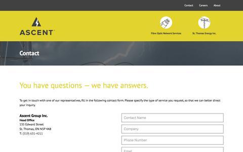 Screenshot of Contact Page ascent.ca - Contact Us | Ascent - captured Oct. 8, 2017