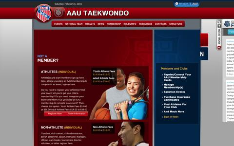 Screenshot of Signup Page aautaekwondo.org - AAU Taekwondo > Membership > Sign Up - captured Feb. 6, 2016