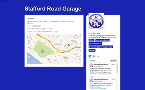 Screenshot of Contact Page tumblr.com - Stafford Road Garage, Contact - captured Sept. 12, 2014