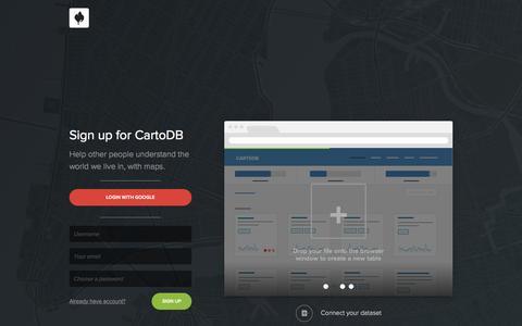 Screenshot of Signup Page cartodb.com - Sign up — CartoDB - captured July 19, 2015