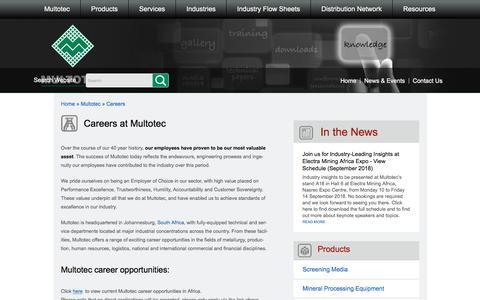 Screenshot of Jobs Page multotec.com - Careers - captured Sept. 21, 2018