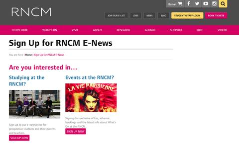 Screenshot of Signup Page rncm.ac.uk - Sign Up for RNCM E-News - Royal Northern College of Music - captured Sept. 18, 2016