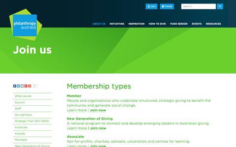 Screenshot of Signup Page philanthropy.org.au - Join us ›› Philanthropy Australia - captured Nov. 6, 2016