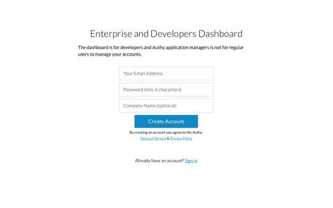 Screenshot of Signup Page authy.com - Authy Dashboard - captured Sept. 13, 2014