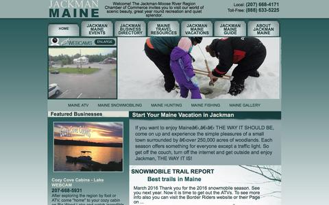 Screenshot of Home Page jackmanmaine.org - Maine ATV Jackman Maine Cabin Maine Snowmobile Trail Ice Fishing Vacation Hunting Chamber of Commerce - captured June 22, 2016