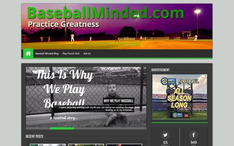 Screenshot of Home Page baseballminded.com - Baseball Tips | Baseball Drills | Play Good Baseball - captured Sept. 22, 2014