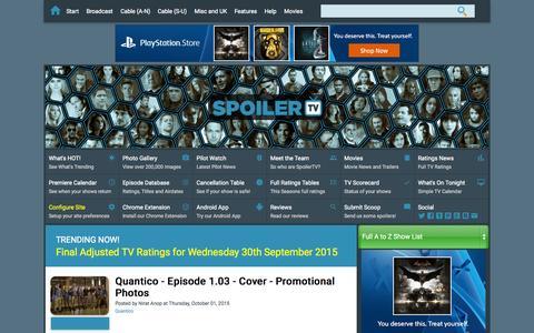 Screenshot of Home Page spoilertv.com - Spoiler TV | The TV Spoilers Site - captured Oct. 1, 2015