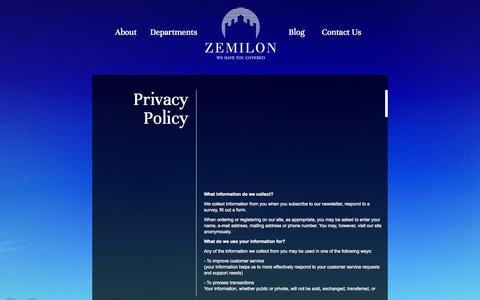 Screenshot of Privacy Page zemilon.com.au - Website Policy - captured Oct. 7, 2014