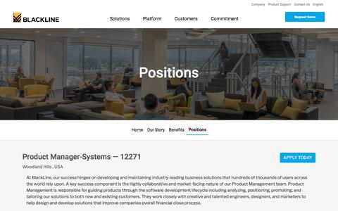 Screenshot of Jobs Page blackline.com - Product Manager-Systems| Woodland Hills, CA, United States - captured Nov. 29, 2019