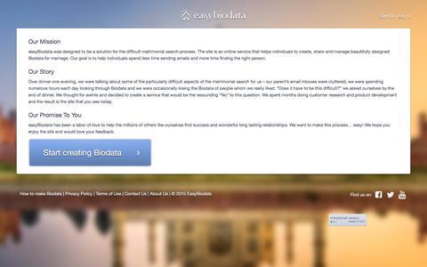 Screenshot of About Page easybiodata.com - Easybiodata - captured Jan. 14, 2016