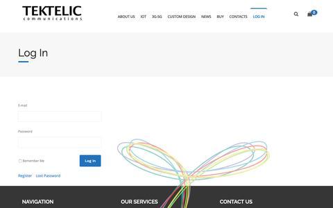Screenshot of Login Page tektelic.com - Log In - Tektelic - captured Oct. 18, 2018