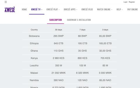 Screenshot of Pricing Page kwese.com - Pricing | Subscription | Hardware | Installation Cost - captured July 10, 2018
