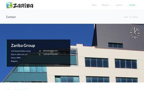 Screenshot of Contact Page zariba.com - Contact - Zariba Group - captured Oct. 19, 2018